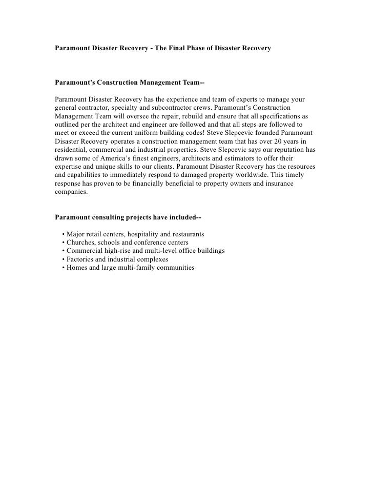 Paramount Disaster Recovery - The Final Phase of Disaster Recovery    Paramount's Construction Management Team--  Paramoun...