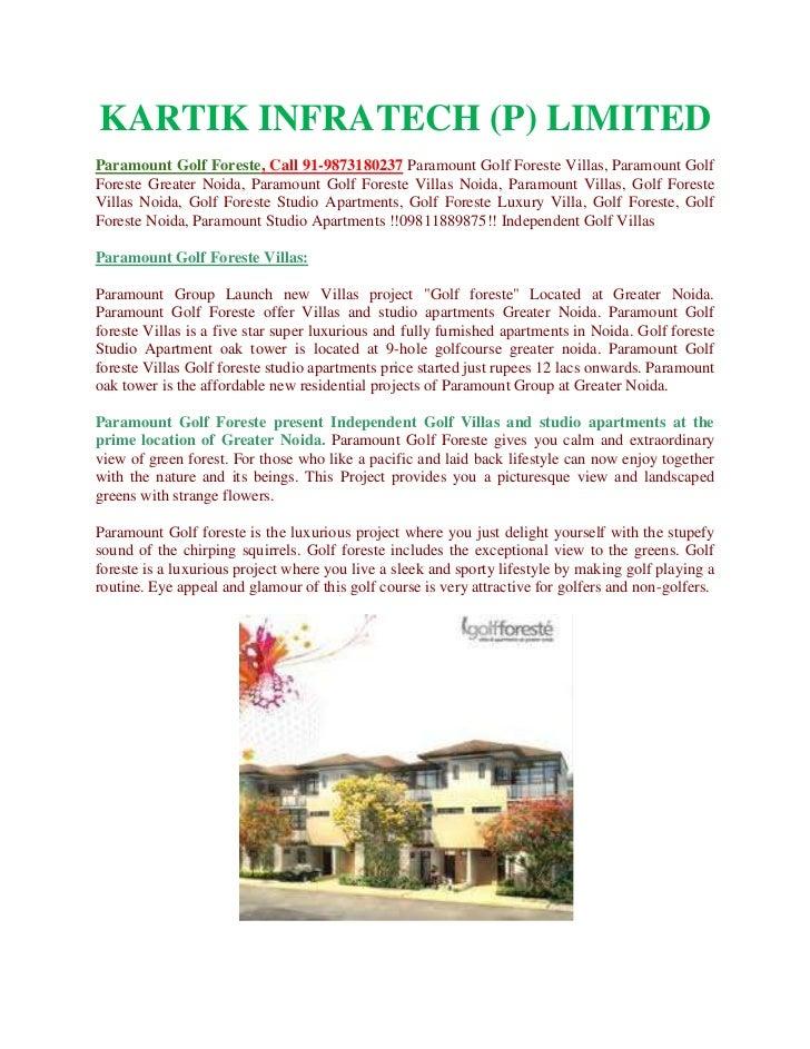 KARTIK INFRATECH (P) LIMITEDParamount Golf Foreste, Call 91-9873180237 Paramount Golf Foreste Villas, Paramount GolfForest...