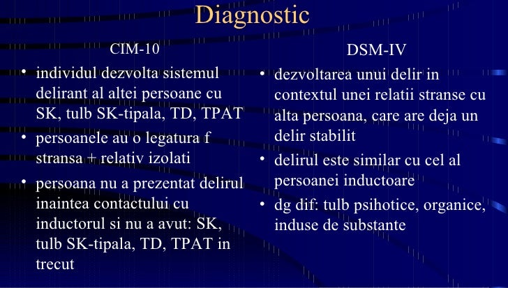 Diagnostic <ul><li>CIM-10 </li></ul><ul><li>individul dezvolta sistemul delirant al altei persoane cu SK, tulb SK-tipala, ...
