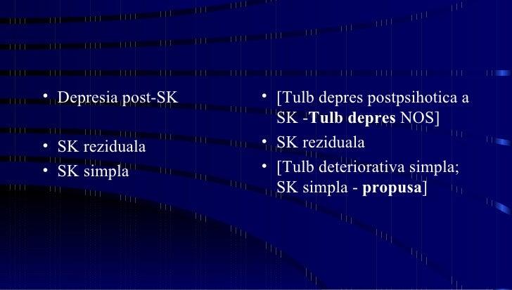<ul><li>Depresia post-SK </li></ul><ul><li>SK reziduala </li></ul><ul><li>SK simpla </li></ul><ul><li>[Tulb depres postpsi...