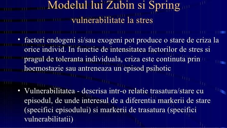 Modelul lui Zubin si Spring vulnerabilitate la stres   <ul><li>factori endogeni si/sau exogeni pot produce o stare de criz...