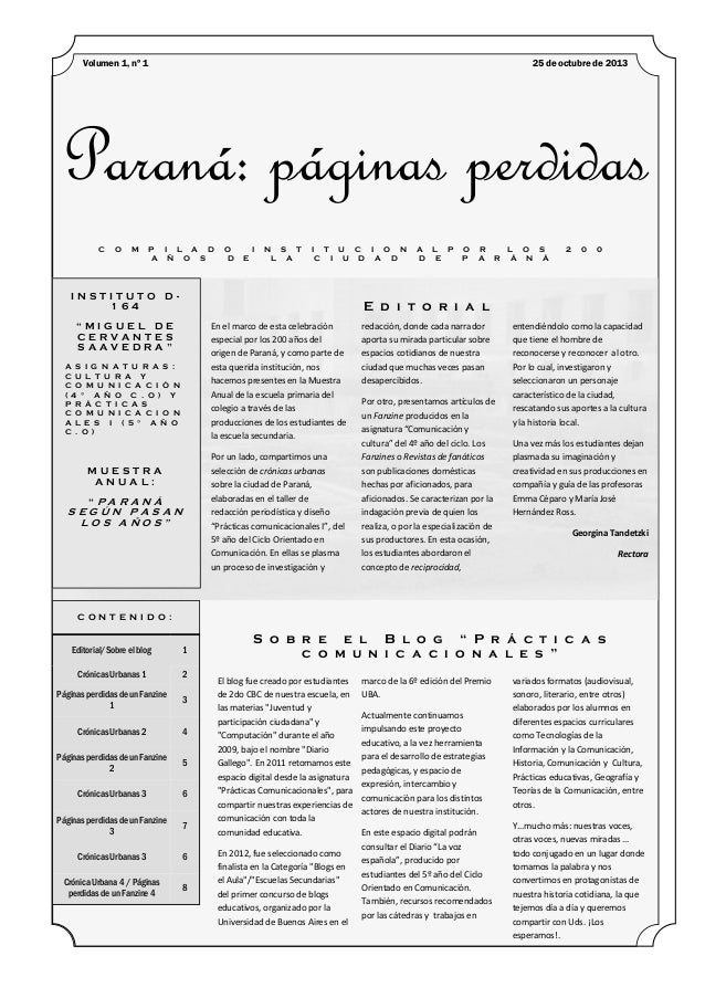 Volumen 1, nº 1  25 de octubre de 2013  Paraná: páginas perdidas C  O  M  P I L A D A Ñ O S  O D  I E  N S T L A  I T U C ...