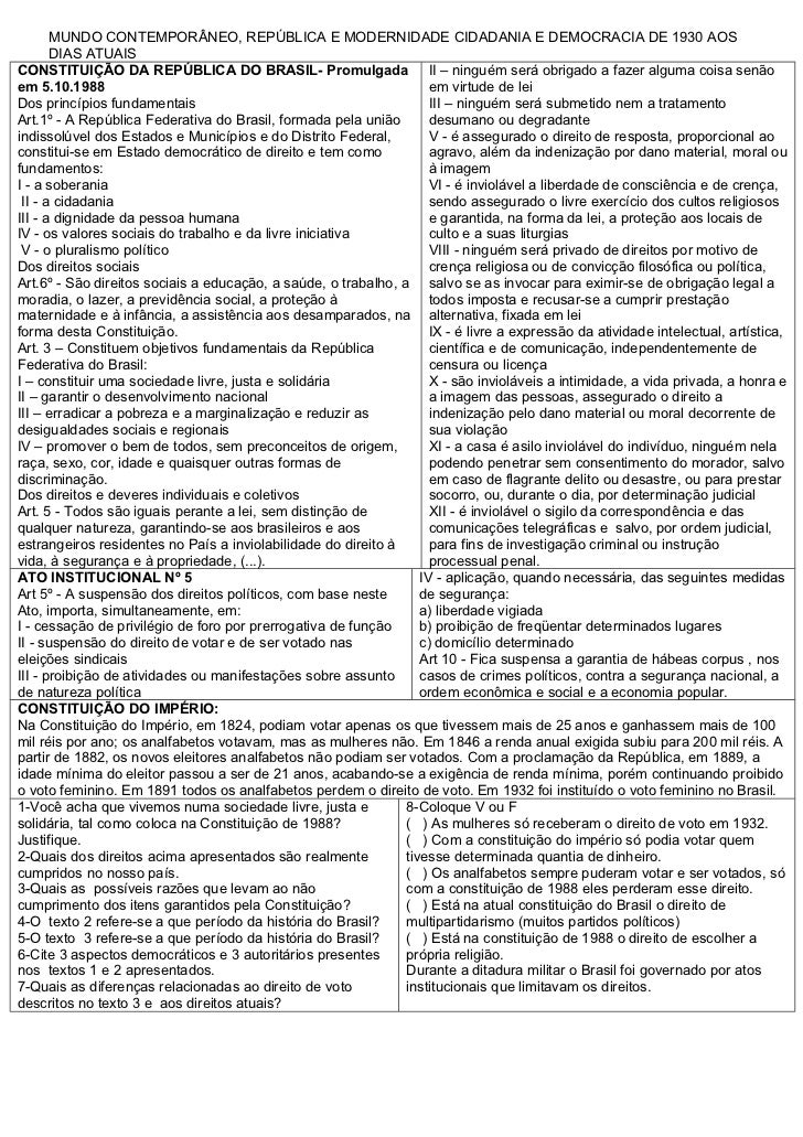 MUNDO CONTEMPORÂNEO, REPÚBLICA E MODERNIDADE CIDADANIA E DEMOCRACIA DE 1930 AOS       DIAS ATUAISCONSTITUIÇÃO DA REPÚBLICA...