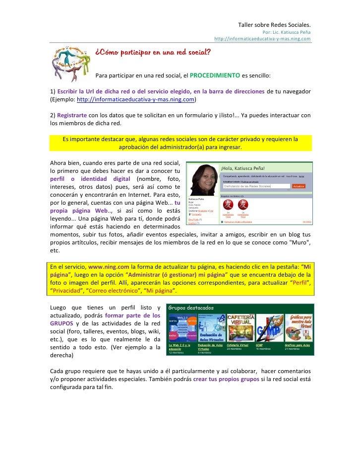 Taller sobre Redes Sociales.                                                                                     Por: Lic....
