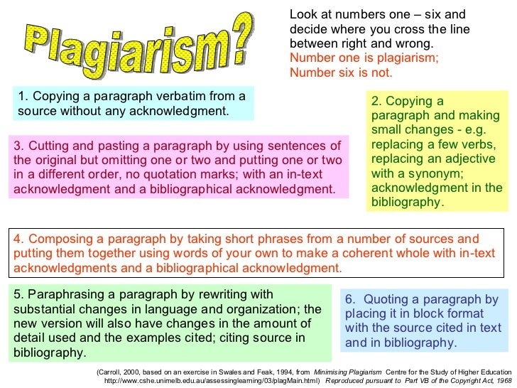 (Carroll, 2000, based on an exercise in Swales and Feak, 1994, from  Minimising Plagiarism   Centre for the Study of Highe...