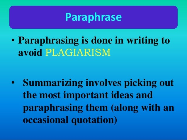 How paraphrasing is done