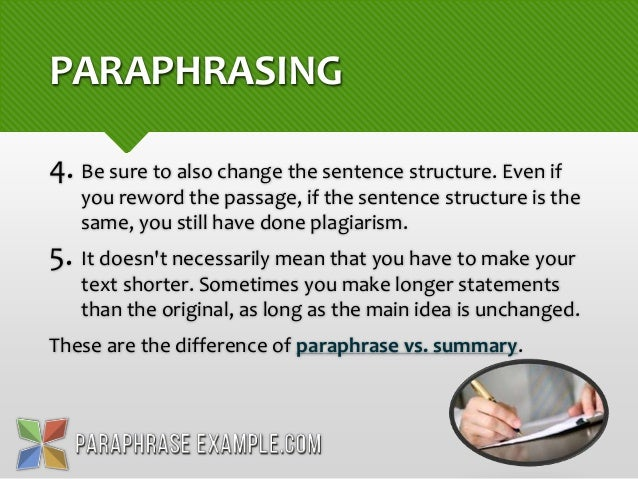 Paraphrasing of sentences
