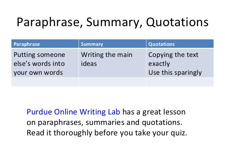 Summary paraphrase and quotation