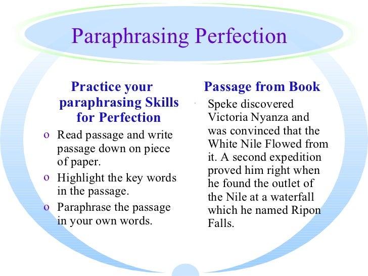 Paraphrasing words exercises