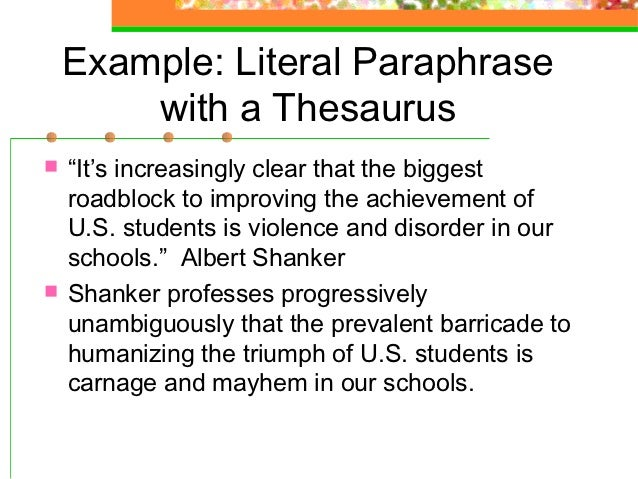 what is paraphrasing examples