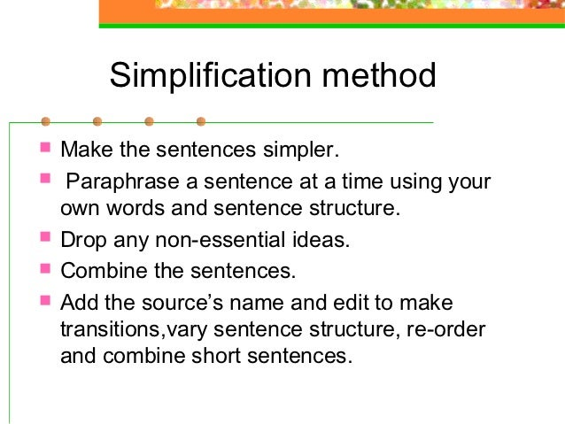 Paraphrase words and sentences your own