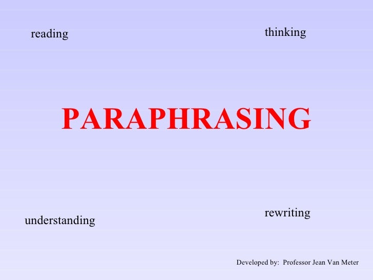 PARAPHRASING reading thinking understanding rewriting Developed by:  Professor Jean Van Meter