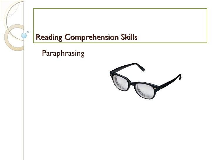 Reading Comprehension Skills Paraphrasing