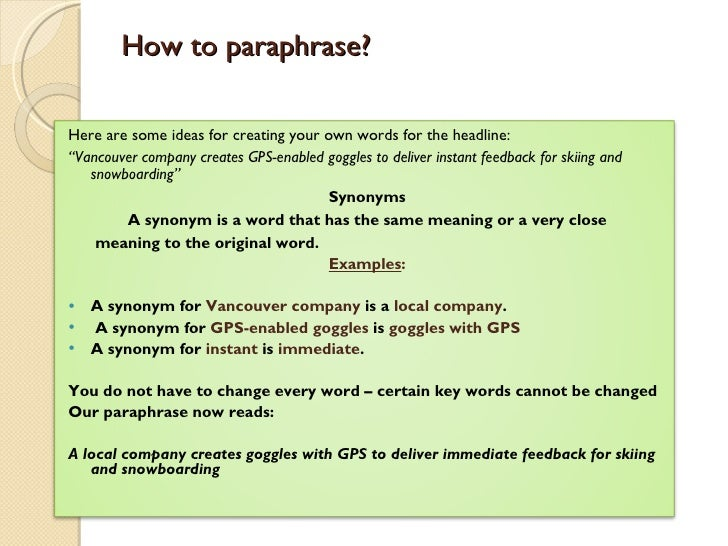 how to make a paraphrase