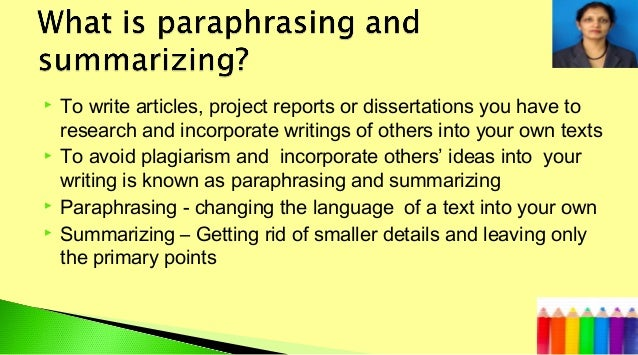 Summarising and paraphrasing understanding