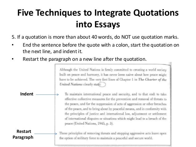 proper quoting in an essay This resource, revised according to the 5th edition of the apa manual, offers  examples for in-text citations, endnotes/footnotes, and your.