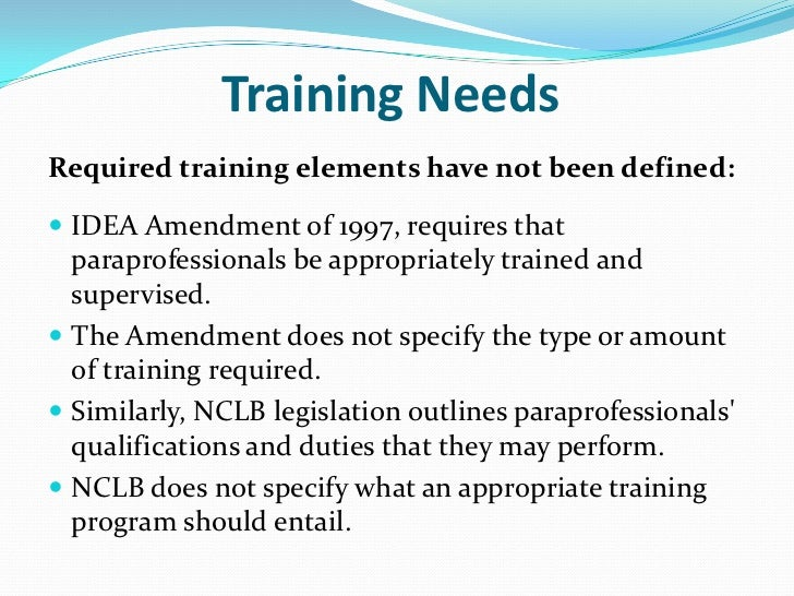 paraprofessional training: is it currently best practice?