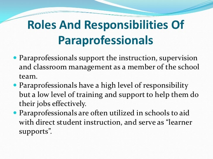 paraprofessional training practice currently