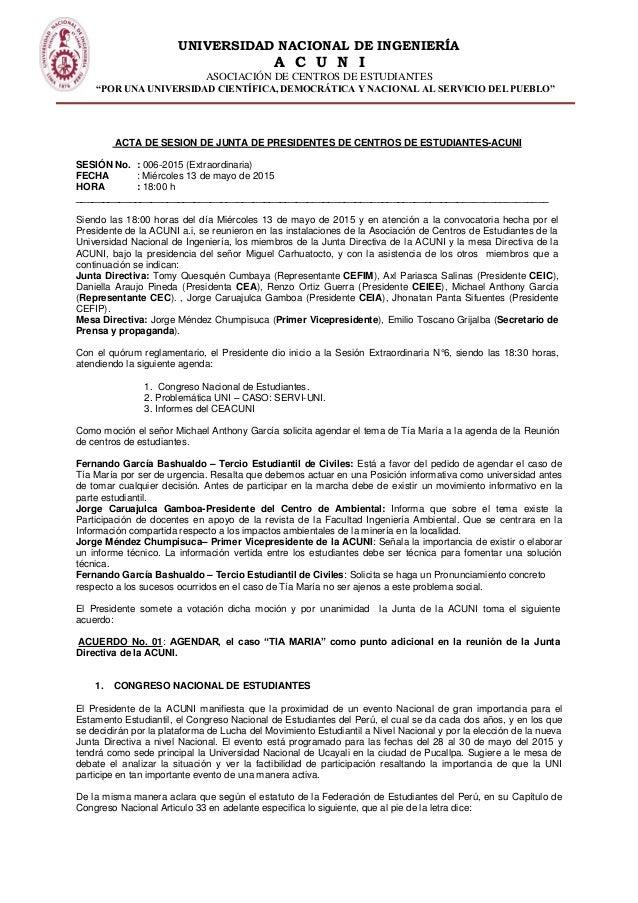 """UNIVERSIDAD NACIONAL DE INGENIERÍA A C U N I ASOCIACIÓN DE CENTROS DE ESTUDIANTES """"POR UNA UNIVERSIDAD CIENTÍFICA, DEMOCRÁ..."""