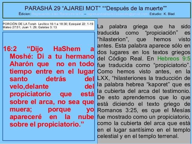 """10 PARASHÁ 29 """"AJAREI MOT"""" """"""""Después de la muerte"""""""" Edicion: Regresando a las Raices de la Fe – regresandoalasraicesdelafe..."""