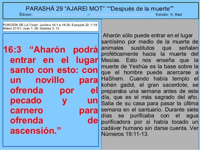 """14 PARASHÁ 29 """"AJAREI MOT"""" """"""""Después de la muerte"""""""" Edicion: Regresando a las Raices de la Fe – regresandoalasraicesdelafe..."""