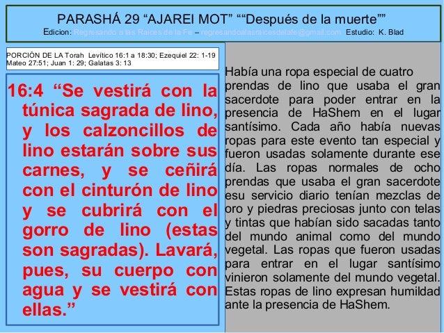 """15 PARASHÁ 29 """"AJAREI MOT"""" """"""""Después de la muerte"""""""" Edicion: Regresando a las Raices de la Fe – regresandoalasraicesdelafe..."""