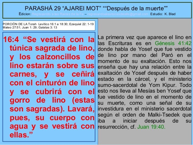"""16 PARASHÁ 29 """"AJAREI MOT"""" """"""""Después de la muerte"""""""" Edicion: Regresando a las Raices de la Fe – regresandoalasraicesdelafe..."""