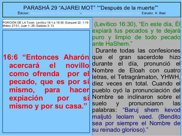 """19 PARASHÁ 29 """"AJAREI MOT"""" """"""""Después de la muerte"""""""" Edicion: Regresando a las Raices de la Fe – regresandoalasraicesdelafe..."""