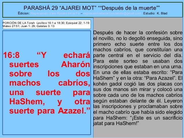 """21 PARASHÁ 29 """"AJAREI MOT"""" """"""""Después de la muerte"""""""" Edicion: Regresando a las Raices de la Fe – regresandoalasraicesdelafe..."""