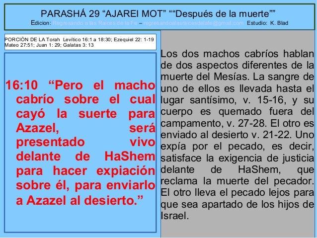 """23 PARASHÁ 29 """"AJAREI MOT"""" """"""""Después de la muerte"""""""" Edicion: Regresando a las Raices de la Fe – regresandoalasraicesdelafe..."""