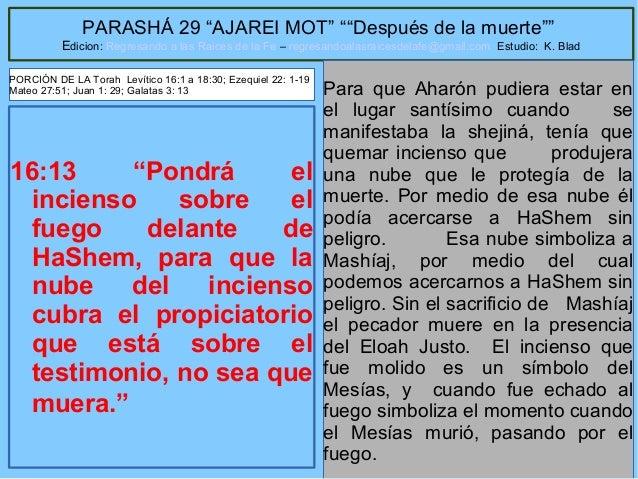 """27 PARASHÁ 29 """"AJAREI MOT"""" """"""""Después de la muerte"""""""" Edicion: Regresando a las Raices de la Fe – regresandoalasraicesdelafe..."""
