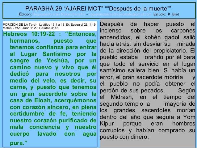 """29 PARASHÁ 29 """"AJAREI MOT"""" """"""""Después de la muerte"""""""" Edicion: Regresando a las Raices de la Fe – regresandoalasraicesdelafe..."""