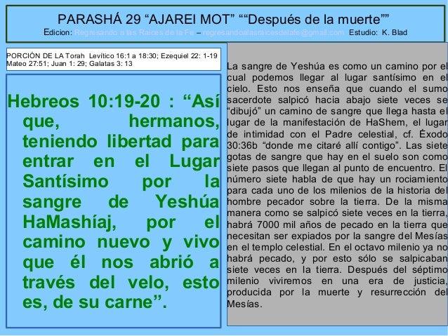 """36 PARASHÁ 29 """"AJAREI MOT"""" """"""""Después de la muerte"""""""" Edicion: Regresando a las Raices de la Fe – regresandoalasraicesdelafe..."""