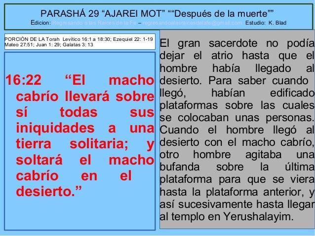 """38 PARASHÁ 29 """"AJAREI MOT"""" """"""""Después de la muerte"""""""" Edicion: Regresando a las Raices de la Fe – regresandoalasraicesdelafe..."""
