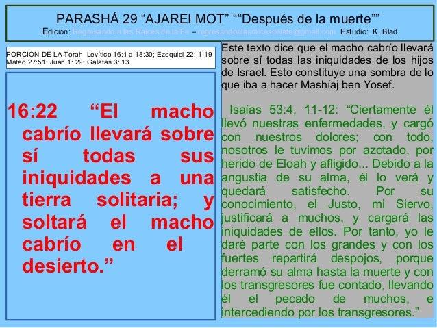 """39 PARASHÁ 29 """"AJAREI MOT"""" """"""""Después de la muerte"""""""" Edicion: Regresando a las Raices de la Fe – regresandoalasraicesdelafe..."""