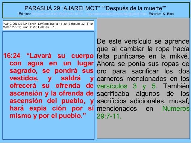 """41 PARASHÁ 29 """"AJAREI MOT"""" """"""""Después de la muerte"""""""" Edicion: Regresando a las Raices de la Fe – regresandoalasraicesdelafe..."""