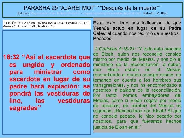 """48 PARASHÁ 29 """"AJAREI MOT"""" """"""""Después de la muerte"""""""" Edicion: Regresando a las Raices de la Fe – regresandoalasraicesdelafe..."""