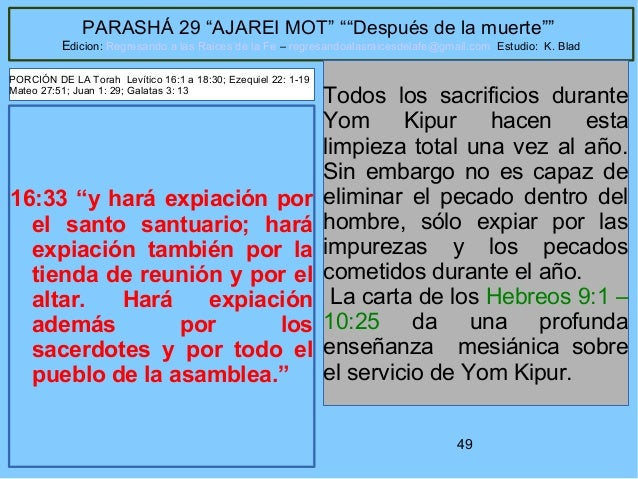 """49 PARASHÁ 29 """"AJAREI MOT"""" """"""""Después de la muerte"""""""" Edicion: Regresando a las Raices de la Fe – regresandoalasraicesdelafe..."""