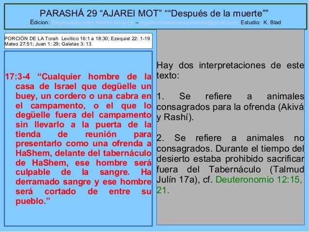 """50 PARASHÁ 29 """"AJAREI MOT"""" """"""""Después de la muerte"""""""" Edicion: Regresando a las Raices de la Fe – regresandoalasraicesdelafe..."""