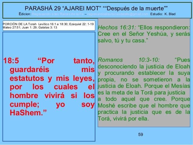 """59 PARASHÁ 29 """"AJAREI MOT"""" """"""""Después de la muerte"""""""" Edicion: Regresando a las Raices de la Fe – regresandoalasraicesdelafe..."""
