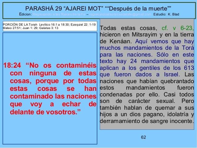 """62 PARASHÁ 29 """"AJAREI MOT"""" """"""""Después de la muerte"""""""" Edicion: Regresando a las Raices de la Fe – regresandoalasraicesdelafe..."""