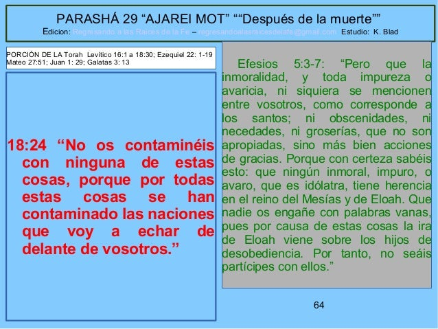 """64 PARASHÁ 29 """"AJAREI MOT"""" """"""""Después de la muerte"""""""" Edicion: Regresando a las Raices de la Fe – regresandoalasraicesdelafe..."""