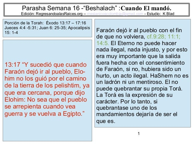 """1 Parasha Semana 16 -""""Beshalach"""" :Cuando El mandó. Edición: RegresandoalasRaices.org – mesianicoscolombia@gmail.com - Estu..."""