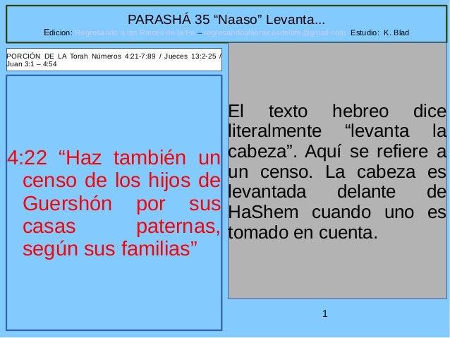 """1 PARASHÁ 35 """"Naaso"""" Levanta... Edicion: Regresando a las Raices de la Fe – regresandoalasraicesdelafe@gmail.com Estudio: ..."""