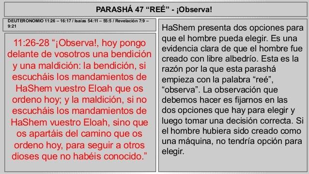 """PARASHÁ 47 """"REÉ"""" - ¡Observa!  11:26-28 """"¡Observa!, hoy pongo  delante de vosotros una bendición  y una maldición: la bendi..."""