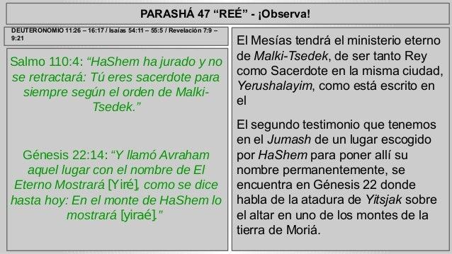 """PARASHÁ 47 """"REÉ"""" - ¡Observa!  Salmo 110:4: """"HaShem ha jurado y no  se retractará: Tú eres sacerdote para  siempre según el..."""