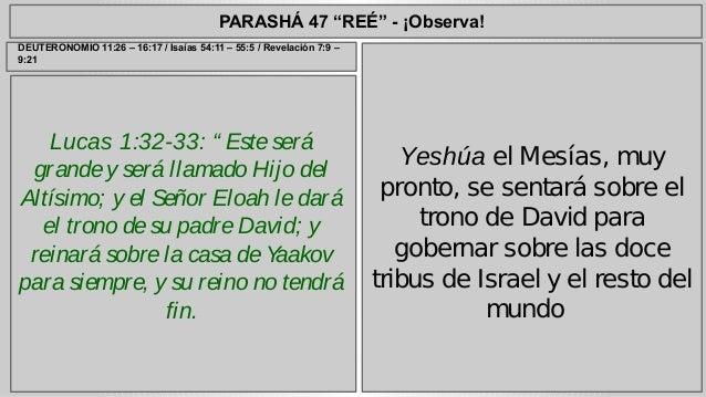 """PARASHÁ 47 """"REÉ"""" - ¡Observa!  Lucas 1:32-33: """" Este será  grande y será llamado Hijo del  Altísimo; y el Señor Eloah le da..."""