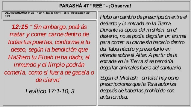 """PARASHÁ 47 """"REÉ"""" - ¡Observa!  12:15 """" Sin embargo, podrás  matar y comer carne dentro de  todas tus puertas, conforme a tu..."""
