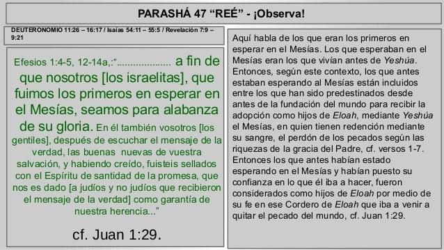 """PARASHÁ 47 """"REÉ"""" - ¡Observa!  Efesios 1:4-5, 12-14a,:"""".................... a fin de  que nosotros [los israelitas], que  f..."""
