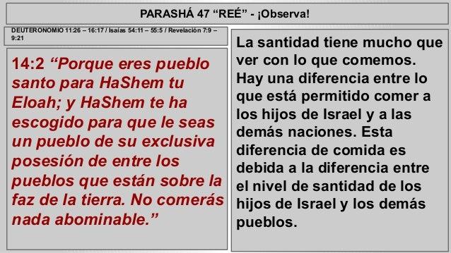 """PARASHÁ 47 """"REÉ"""" - ¡Observa!  14:2 """"Porque eres pueblo  santo para HaShem tu  Eloah; y HaShem te ha  escogido para que le ..."""